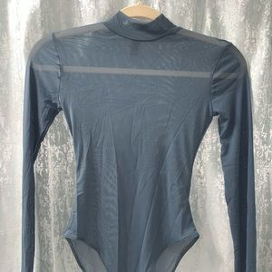 Blue Mesh Longsleeve Bodysuit